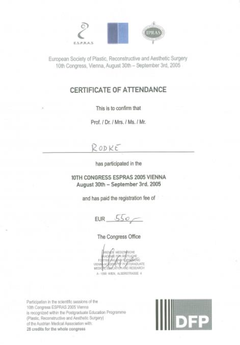Sertifikāts - Dr. Rodke