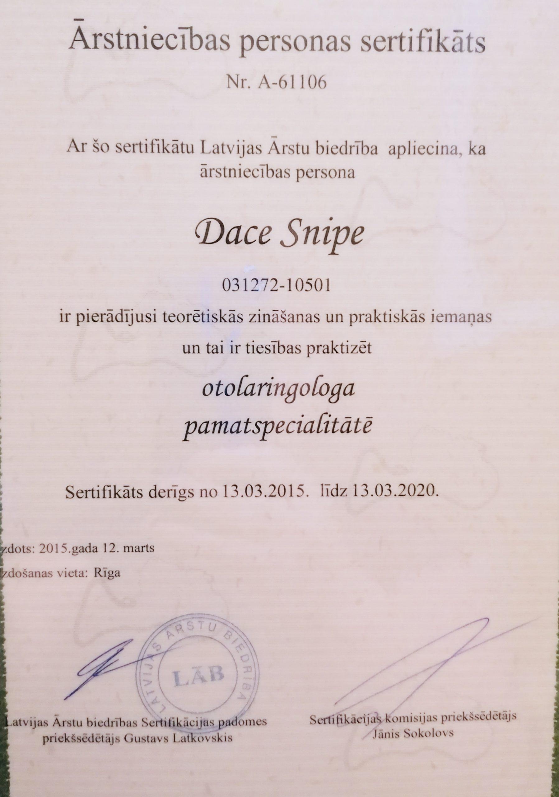 Sertifikāts - Dr. Snipe