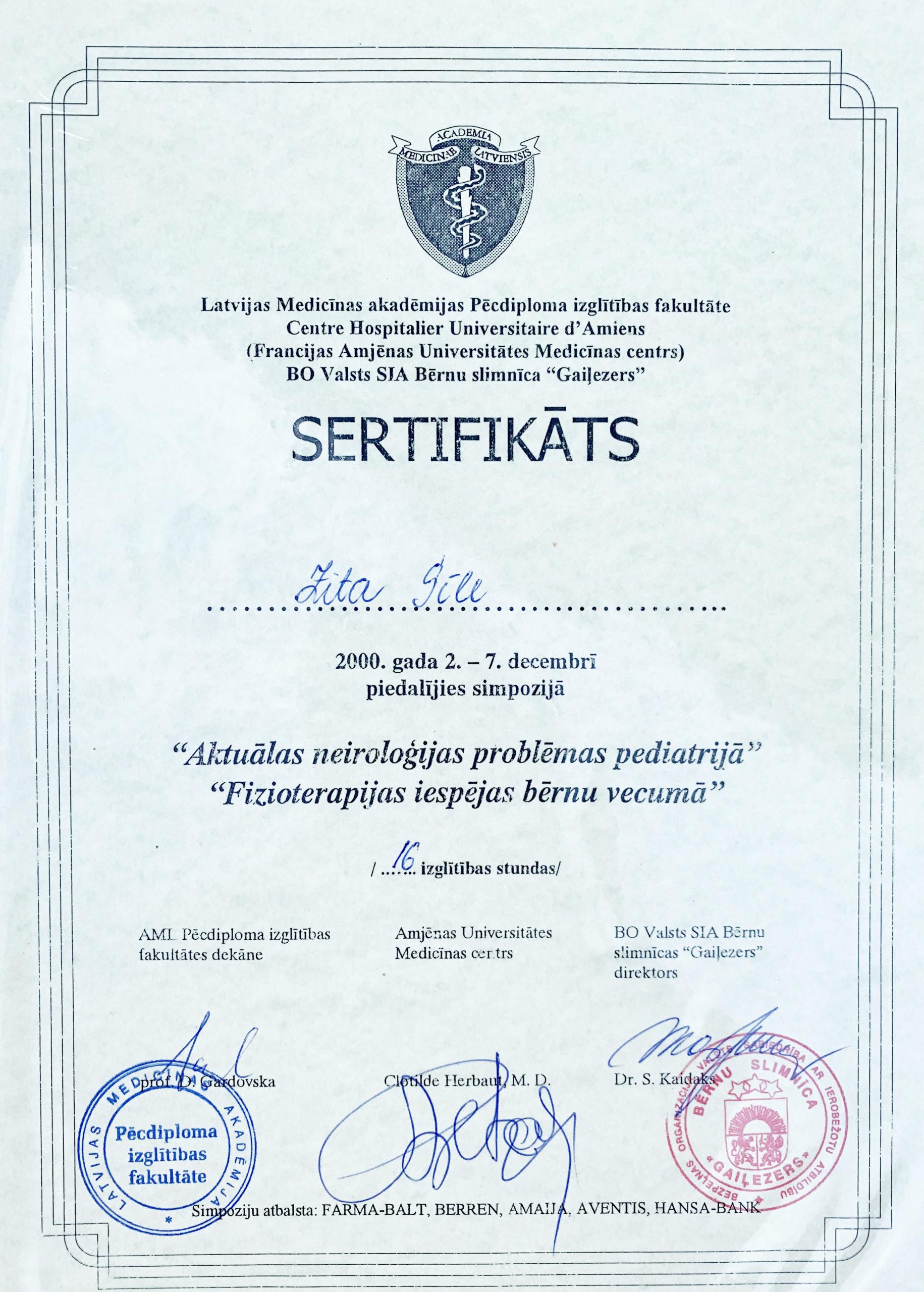 Sertifikāts - Z. Kriškāne