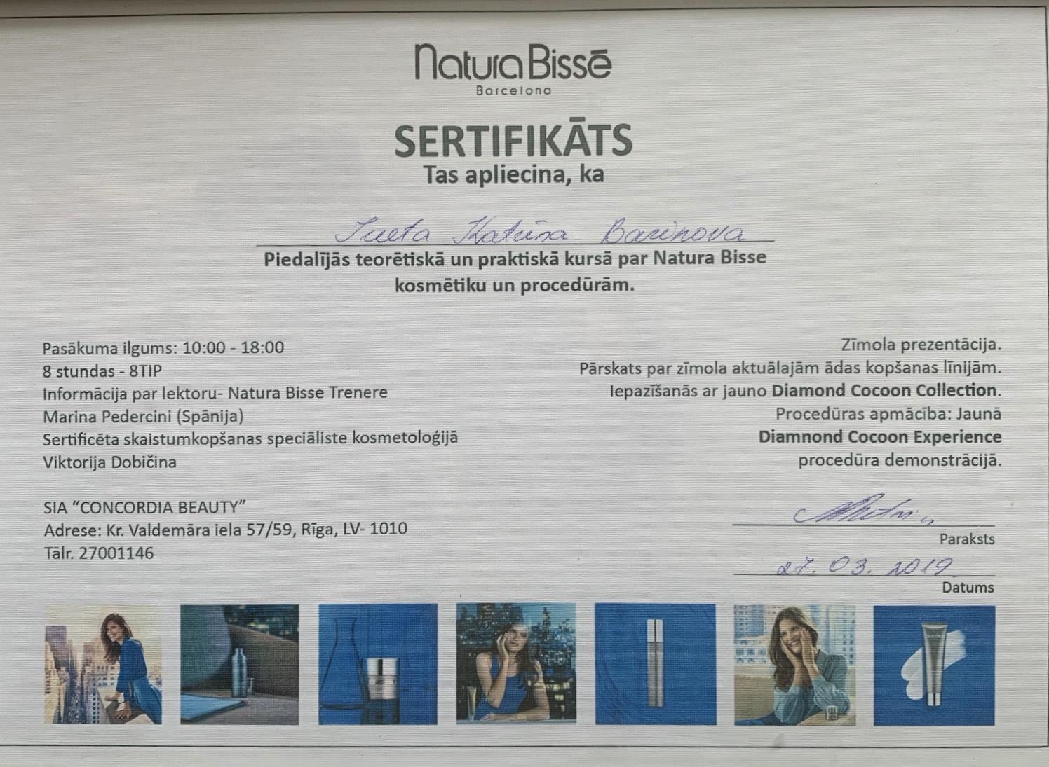 Sertifikāts - K. Barinova