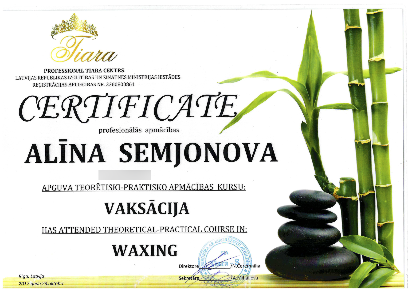 Сертификат - Алина Семёнова