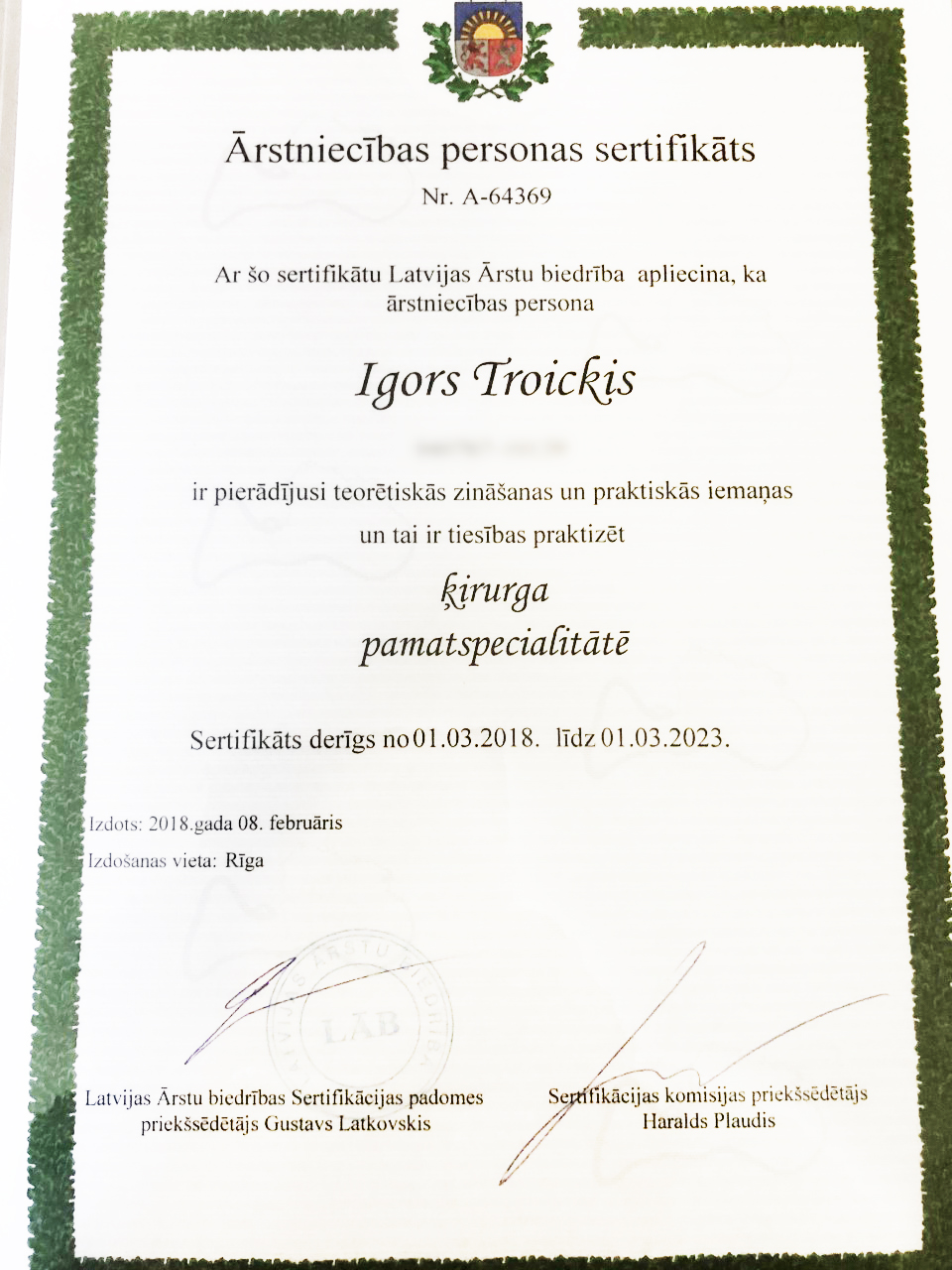 Sertifikāts - Dr. Troickis