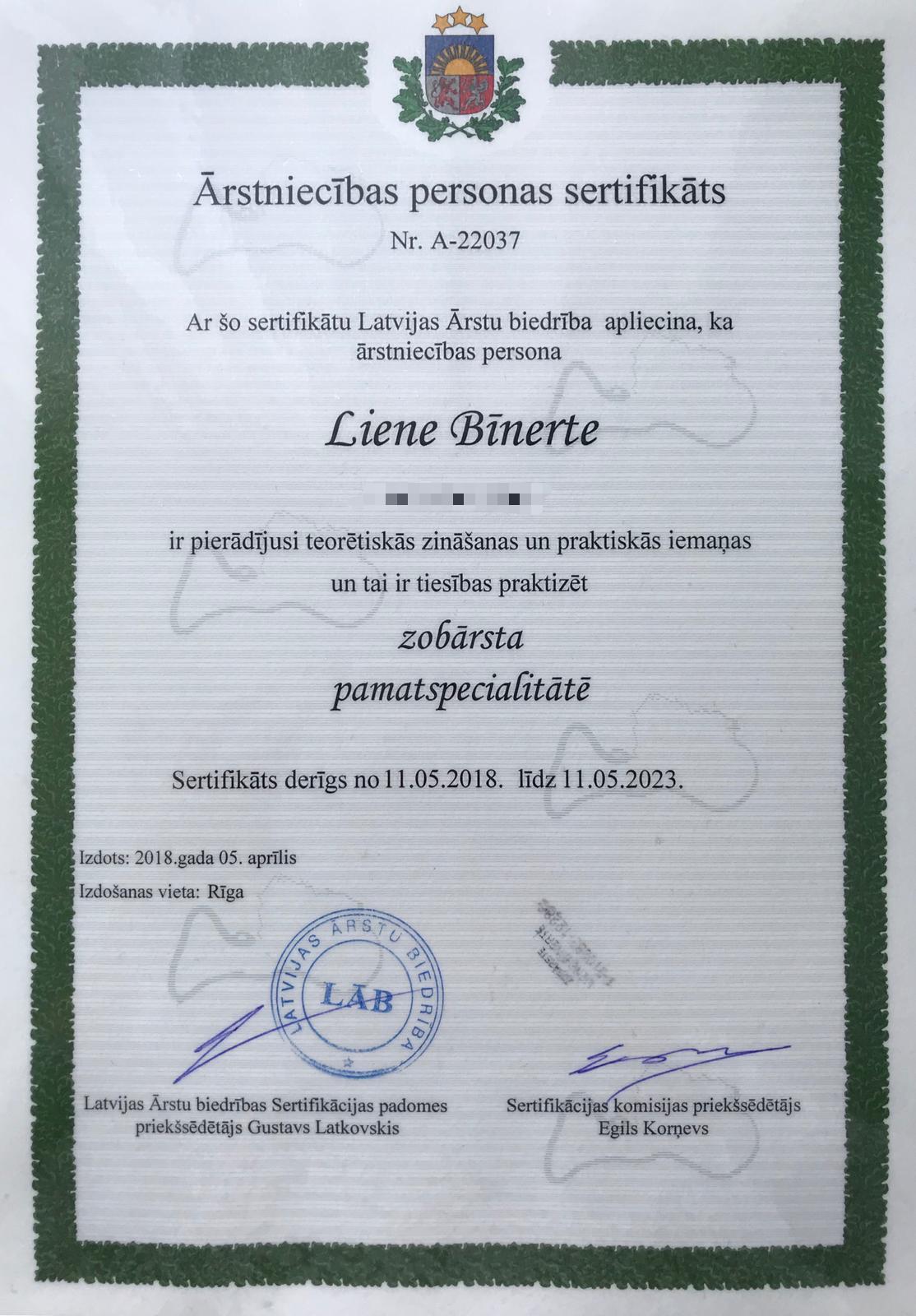 Sertifikāts - L. Bīnerte