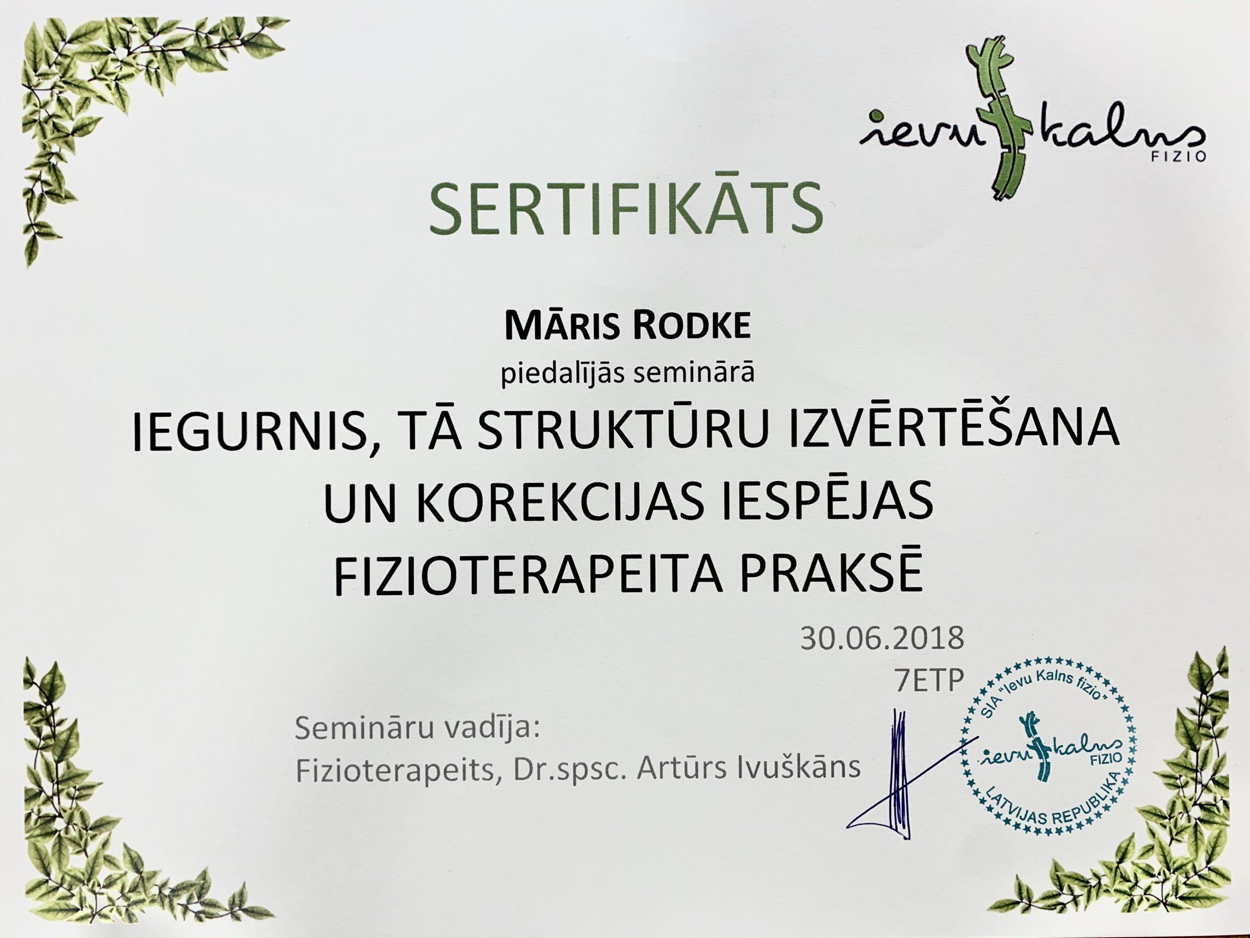 Sertifikāts - M. Rodke
